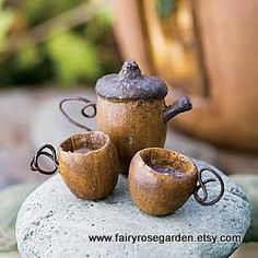 Fairy Tea Set  Fairy house  Fairy Garden  Fairy furniture