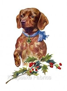 Dachshund-Christmas-Fabric-Block-Multi-Sizes-FrEE-ShiPPinG-WoRld-WiDE-D2