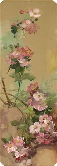 Pink wild roses (watercolour and gouache) - Franz Bischoff (1864-1929)