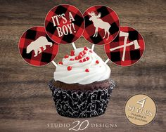 "Instant Download Black and Red Buffalo Plaid 2"" Cupcake Toppers by Studio20Designs. All four lumberjack cupcake toppers included. TO USE: After printing and punching out each topper, place two toppers back-to-back so that the blank sides are touching. Next, sandwich a lollipop stick between the two toppers and secure in place by using double-sided tape or a glue gun (securing the stick and adhering both toppers together."