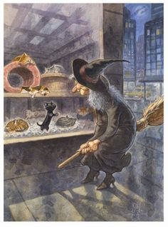 'Something Familiar' by artist Peter de Sève ~ window-shopping witch & black kitten in a pet shop ~ adorable! | via tumblr