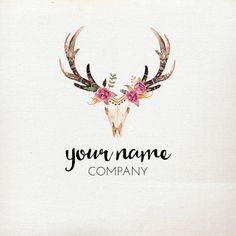 Premade Logo Design Rustic Deer Antler Skull от AutumnLanePaperie