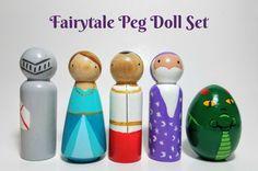 Fairytale Themed Peg Doll Set Miniature World Play Unique