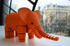 3D Printed Elephant by LeFabShop  http://thingiverse.com/thing:257911