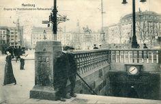 Hamburg. Eingang zur Hochbahnstation Rathausmarkt. Published by A. Büttner, Hamburg. Printed by Knackstedt & Co. in 1912.
