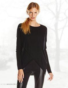 BCBGMAXAZRIA Women's Karsyn Boxy Asymmetric Merino Wool Sweater