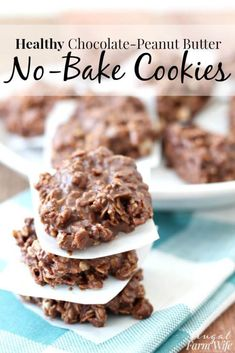 "These Healthy No-Bake Chocolate-Peanut Butter Cookies have lower sugar than their traditional, and even their ""healthy"" counterparts. I love how fudgey they are! desserts Healthy No-Bake Chocolate-Peanut Butter Cookies Healthy Chocolate Desserts, Healthy Sweets, Healthy Dessert Recipes, Healthy Baking, Easy Desserts, Gourmet Recipes, Baking Recipes, Healthy Sweet Treats, Healthy Fats"