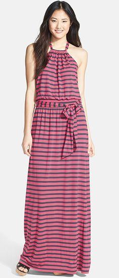 Stretch Knit Halter Maxi Dress