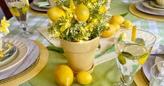 Although many of us won't be able to celebrate Mother's Day gathered around a table with our moms, I still wanted to design a tablescape ... Yellow Dinner Plates, Yellow Bowls, Lavender And Lemon, Lemon Lime, Lemon Centerpieces, For Love And Lemons, Tablescapes, A Table, Tapas