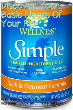 (This is an affiliate pin) Size:12.5 oz (Pack of 12)Product DescriptionWellness Simple Natural Limited Ingredient Wet Canned Dog Food is healthy, natural limited ingredient diet dog food formulated for allergy prone adult dogs or adult dogs with food sensitivities, allergies or ingredient intolerances. Wellness Simple Limited Ingredient Diet dog food formulas keep it simple with a balance of single source of protein and easily digestible carbohydrates, without extra fillers or additives… Wet Dog Food, Cat Food, Dog Food Recipes, Diet Recipes, Canned Dog Food, Limited Ingredient Dog Food, Oatmeal Recipes, Salmon Potato, Dog Diet