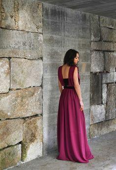 "Raquel Baptista ""Mind, Body & Soul"" Lookbook - Look11: Boho Burgundy Gown with Pleated Velvet!"