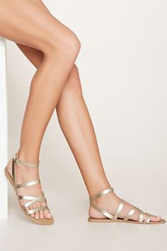 Metallic Faux Leather Sandals | Forever 21 - 2000177945