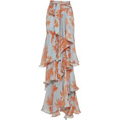 Johanna Ortiz Costa Pacifica Tiered Long Skirt (€940) ❤ liked on Polyvore featuring skirts, co-ords, johanna ortiz, print, long skirts, patterned skirts, high waisted long skirts, ankle length skirts and high waisted maxi skirt