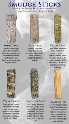 Info Graphic of Smudge Sticks and their uses Smudging Prayer, Sage Smudging, Witch Spell Book, Witchcraft Spell Books, Healing Herbs, Natural Healing, Chakras, Yerba Santa, Spiritual Cleansing