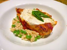 Baked Chicken and Marinara over Alfredo Orzo with Peas  Total Time: 30-35 minutes