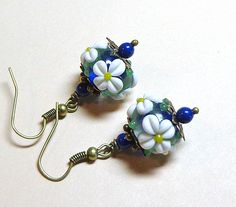 Jewelry, Earrings, White Flower, Cobalt Blue,  Lampwork, Swarovski Crystal Pearl,  Antique Brass. $12.00, via Etsy.