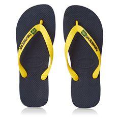 121dfc670 Havaianas Brasil Logo Flip Flops - Navy Blue Citrus Yellow
