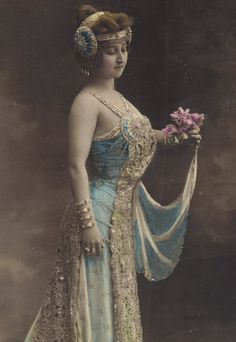 Mlle. Marville, Belle Epoque Stage Performer in Exquisite Art Nouveau Costume. circa 1905