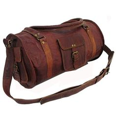 24 Leather Duffel Travel Gym Overnight Weekend Leather Bag Sports Cabin ** More info could be found at the image url. Note:It is Affiliate Link to Amazon.