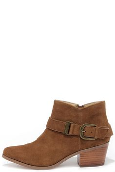 Last year's booties don't stand a chance against the Kensie Colten Cognac Suede Leather Ankle Boots! A brass-buckled belt dresses up an almond-toe upper. Leather Ankle Boots, Suede Leather, Tan Belt, Tan Booties, Boot Shop, Casual Boots, Heeled Mules, Shoe Boots, Quick Draw