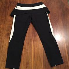 """Lululemon Skirted Capri Leggings Black and white Capri leggings with peplum skirt. Ankle zip. 23"""" inseam. lululemon athletica Other"""