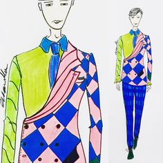 #art #dessin #bespoke #costume #tailor #sewing #styliste #man #fashion #ewelina_slowinska #sketchbook #draw #colors #suit #bespoke #summer #illustration #man #pierrot #interesting