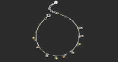 Tri-tone faceted ball charms sterling silver anklet with spring ring clasp wholesale yiwu china