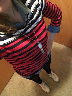 Striped Breton top, chambray shirt, dark skinnies, Kendra Scott necklace, converse