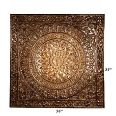 """Large Tuscan Embossed Metal Ceiling Tile Design Wall Decor 36 25"""" Square Square 