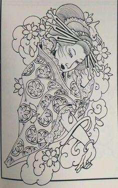Japanese Geisha Tattoo, Japanese Tattoo Designs, Asian Tattoos, Black Tattoos, Samurai Tattoo Sleeve, Tattoo Oriental, Geisha Tattoo Design, Cloud Tattoo, Samurai Artwork