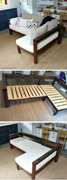 Diy Furniture : Check out how to make a DIY wooden small sectional from 2x4s Industry Standard D