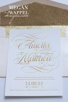 Gold foil pressed invitations with glitter envelope liners by MeganWappelDesigns.com    #Blush #Invites #Glitter #Gold