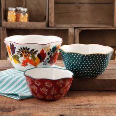 The Pioneer Woman Timeless Floral Wavy Nesting Bowl Set, 3-Piece - Walmart.com
