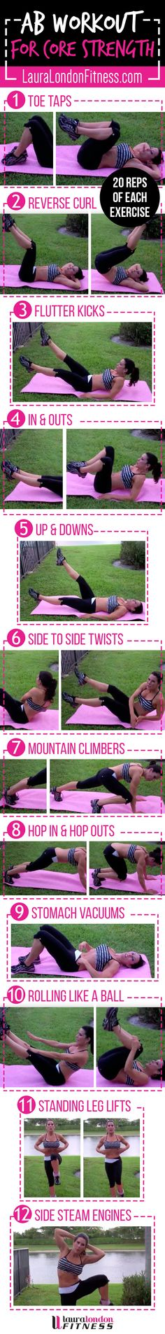 AB workout to build CORE strength. 12 AB exercises to get you TNT tight and tiny! Watch the full Video Here: https://www.youtube.com/watch?v=JJUaTkbYm-k #fitness #homeworkouts #lauralondonfitness