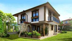Modele fatade case - Galerie cu imagini pentru a capta atentia tuturor vecinilor / Fatada casa cu etaj alba cu parter placat cu piatra decorativa sursa: http://www.renovat.ro