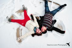 Adorable winter couple picture ideas | snowy engagement picture ideas | snow angels! | Deanna Loren Photography