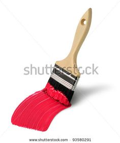 stock photo : Paint brush with red paint stroke isolated on white background