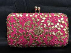 Hot Pink Evening Clutch - Indian Evening Clutch - Indian Handbag - Evening Clutch - Evening Bag - Wedding Clutch - Prom Clutch - Desi -