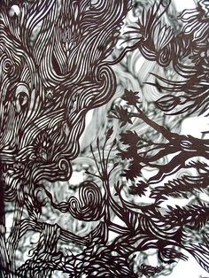 Andy Singleton: Nature, Man, paper cutting machine - 2006 hand cut paper 160gsm 60 x 45 cm
