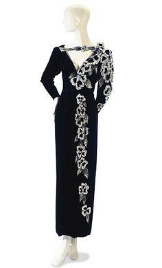 Black Nolan Miller gown--liz taylor collection