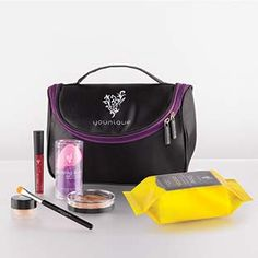 Kid in a Candy Store Collection-Stiff Upper Lip Lip Stain, Splurge Cream Shadow, Cream Shadow Brush, Beachfront Bronzer, Set of Blending Buds, Shine Eye Makeup Remover Cloths, Younique makeup bag. Only $115!