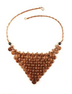 """Wire Wrapped Necklace """"Cleopatra."""" This regal copper spiral wire-wrap necklace is fit for a queen."""