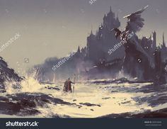 stock-photo-illustration-painting-of-king-walking-through-sea-beach-next-to-fantasy-castle-in-background-309018608.jpg (1500×1161)