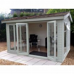 A light and spacious garden room that can be used as either a summerhouse or a garden office. The glass to ground double glazed windows run across the front aspect with double doors and an opening window in either end.