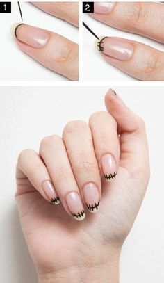nail art french zombie halloween how to                                                                                                                                                                                 More                                                                                                                                                                                 More