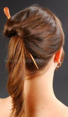 Wooden pin will create a hairstyle in a few seconds. Needle  is shaped like a screw, so just a simple twist will tighten a  hairstyle. Wood itself does not tear your hair, does not slide,  and it is very gentle to your hair. May be also shorter.