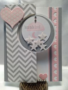 Stampin' Up! handmade welcome baby card . from ink, paper, scissors-stamp! gray and white with baby pink . swing card format using the round flip card die cut . stars punched from silver glimmer paper . Flip Cards, Folded Cards, Cute Cards, Baby Shower Cards, Baby Cards, Kids Cards, Swing Card, Valentine Day Cards, Creative Cards