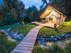 Romantic glamping tent at Chateau Ramšak glamping resort in Slovenia - a perfect getaway!