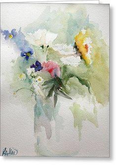 Vase Of Flowers Greeting Card by Kathleen Hartman #watercolorarts
