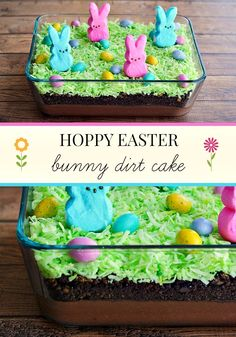 Easter Bunny Dirt Cake with Peeps and Pudding- cute, easy & yummy! #Easter_Dessert